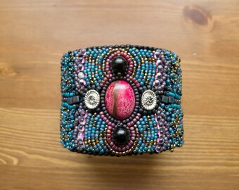Bead Embroidered Jasper and Onyx Cuff Bracelet
