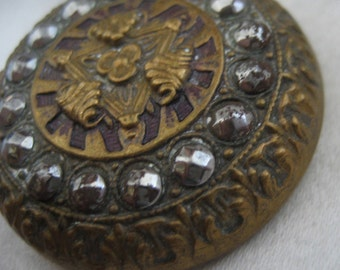 Large ANTIQUE Cut Steel on Metal BUTTON