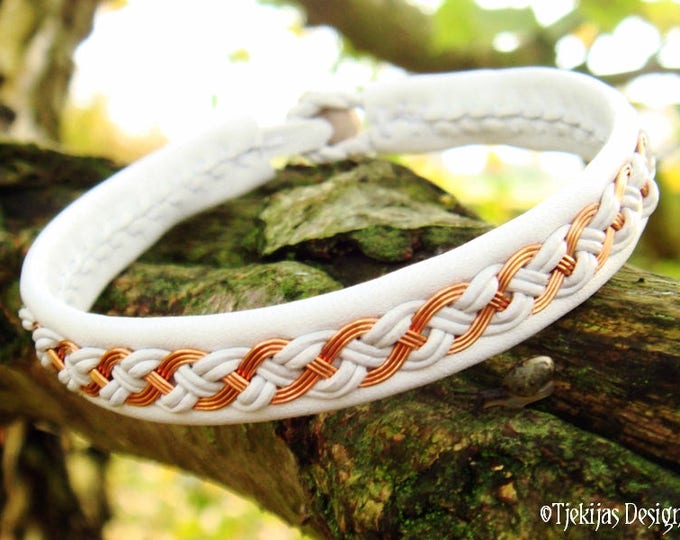 Nordic Viking Bracelet Cuff DRAUPNIR White Lapland style Sami Bracelet with Copper wire Braid and Antler closure