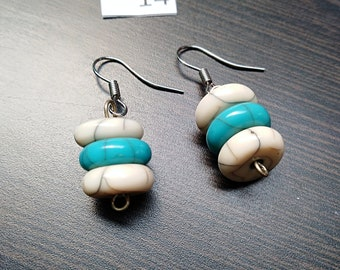 Layered Blue and White Turquoise Earrings