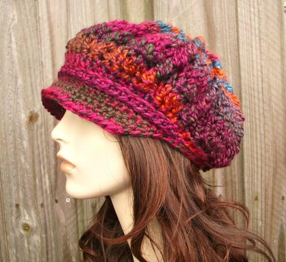Instant Download Crochet Pattern - Hat Crochet Pattern - Crochet Hat Pattern for Spring Monarch Newsboy or Beret Womens Hat