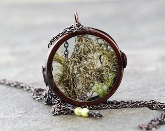 Moss Necklace - Glass Locket Pendant - Terrarium Necklace - Long Copper Necklace