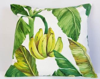 Banana tree pillow cover, botanical cushion cover, nursery decor, banana throw pillow, green, yellow