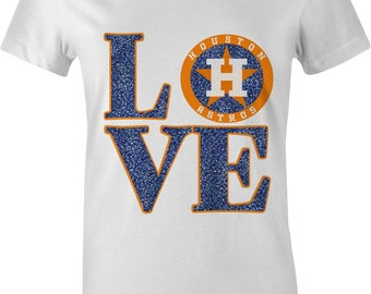 HOUSTON BASEBALL Ladies Shirt|Glitter|bling|womens|Blue|Orange|Astros|black|gold|diva|gift|clothing|ladies shirt