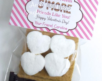 Valentine Smore Treat Bag Topper Printable-Printable Kids Valentine-S'more Treat Bag Topper-Personalized Valentine Smore Topper-Typography