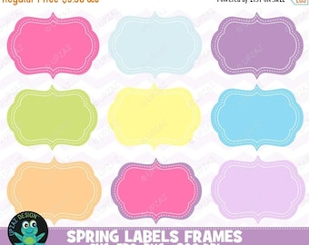 75% OFF SALE Spring Digital Frames Clip Art, Instant Download, Commercial Use - UZ883