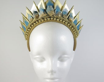 Blue Apatite Golden Blade Crystal Crown - by Loschy Designs