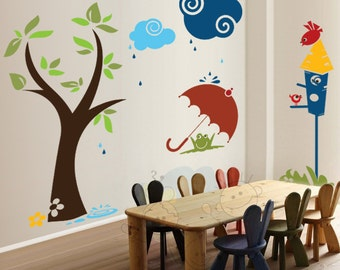 Children Wall Decals - Birds Family House Tree and Rain Playroom Vinyl Sticker - PLYR040R