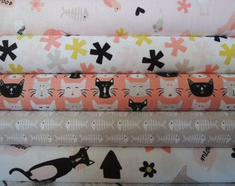 Meow, Kitty Cat Rag Quilt Kit, Fabric by Riley Blake , Easy to Make, Personalized, Bin J , Sewing Available