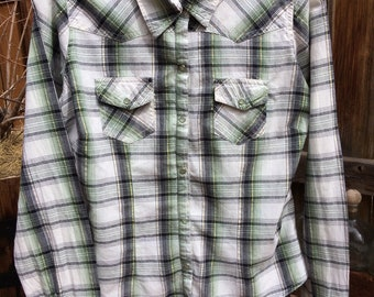 Plaid Western Shirt with Pearl Snaps