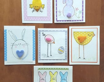 Handmade EASTER CARDS - Wool/Watercolor/Marker Needle Felted Easter Greeting Cards/ Papercraft / Blank Inside / OOAK Easter Cards