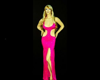 New Stripper Exotic Dancewear floor length rhinestone dress and Matching Thong. lycra/spandex