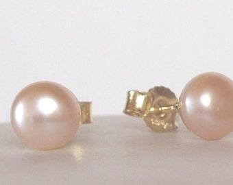 Freshwater Pearl Earrings apricot peach  - Stud  Post - wedding earrings - Pearl earrings - Bridesmaid earrings - sterling Silver