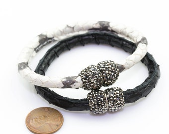 Snake Skin Snakeskin Bracelets Snakeskin Bangles- Skinny- 7.5 inches- Magnetic Clasp