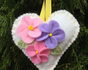Heart Sachet Cream Felt with Lavender Scent