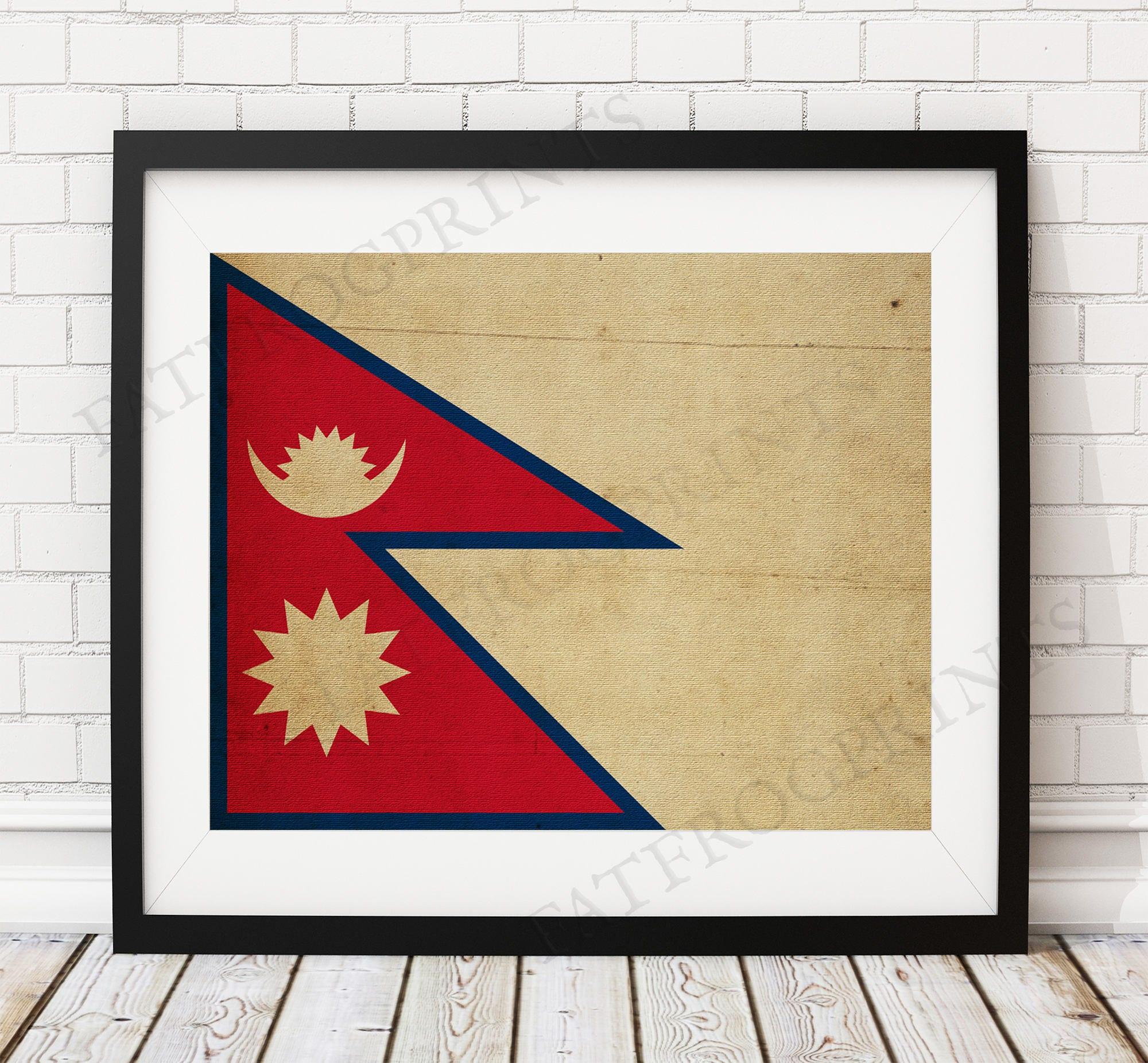 Nepal Flag Print, Nepal Flag Art, Nepal Gifts, Flag Poster, Nepalese ...