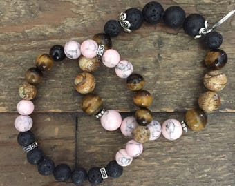 Set of Two Aromatherapy Bracelets for Essential oils