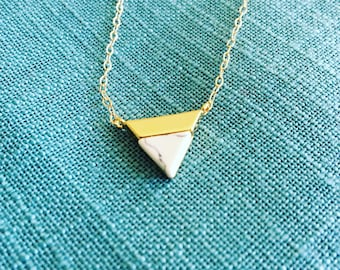 Triangle Howlite Pendant; white semi-precious stone pendant; gold filled necklace, triangle charm, best friend gift, bridesmaid gift