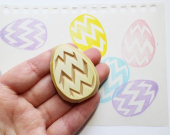 easter egg stamp. egg hand carved rubber stamp. geometric/chevron patterns. diy easter. scrapbooking. card making. gift wrapping