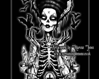 Gothic, Zombie Pinup ,Pinup Rockabilly, Skeleton, Goth, dark Art Print by Marcus Jones