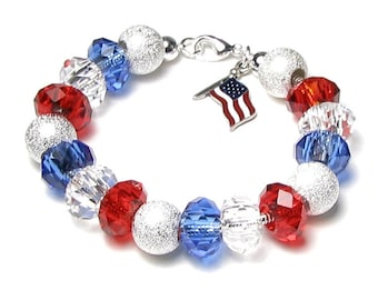July 4th Beaded Bracelet in Red Clear Blue Silver Finish American Flag Colors Summer Charm Jewelry Military Mom Veteran Memorial Hero Gifts