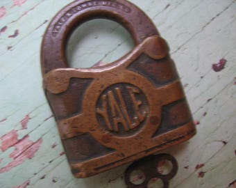 Antique Yale & Towne Padlock with Key, Solid Brass, Stamford, Conn, Used - 1800's