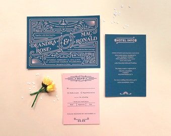 Digital Wedding Invitation Set with RSVP – Art Deco, Vintage Inspired, DIY Wedding, Printable Files – Dee & Mac