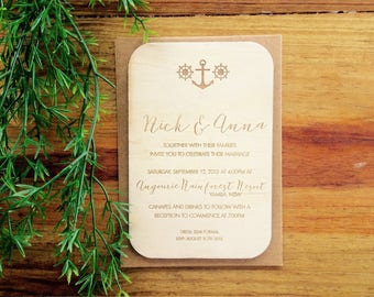 Wood wedding invitation - Timber wedding invitation - Nautical design - Pack of 10