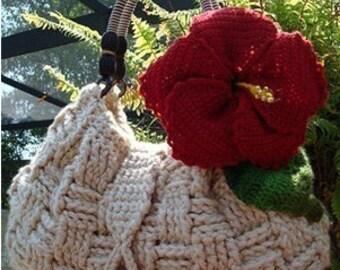 """CROCHET PATTERN - """" Hibiscus Purse """" Crochet Pattern,  flower crochet pattern crochet purse pattern knit pattern"""