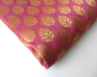 Pink Gold flower silk brocade tie silk India silk fabric. fabric nr 167 fat quarter REMNANT