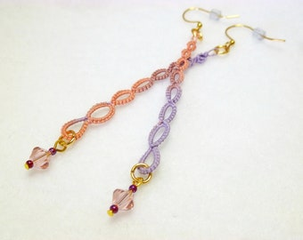 Tatting jewelry long dangle Earrings -Strand in lilac and each with Swarovski Crystals simple modern style for casual or fancy handmade lace