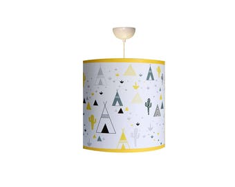 """Child Lampshade """"in my teepee in yellow"""""""