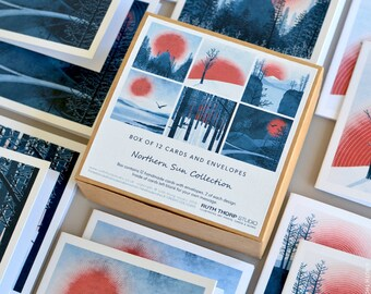 Box of 12 Cards - Northern Sun Collection / stationery / greeting cards / gift idea / nature / landscape / blue / red / sun / birds / art