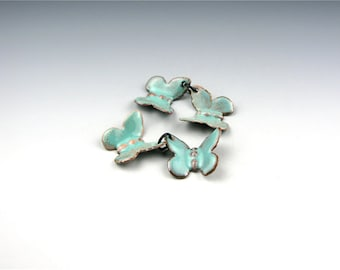 Enameled Butterflies / Seafoam Enamel  / Made to order