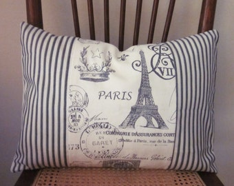 """Ticking Paris Pillow Covers, Decorative Pillow, Lumbar 12"""" x 16"""" 14"""" x 18"""", Black and Beige Ticking and Paris Pattern"""