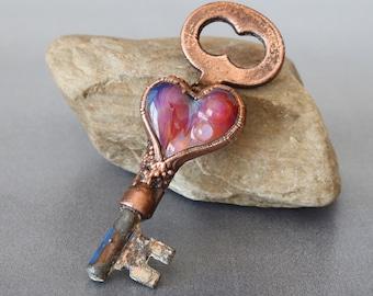 Copper electroformed vintage skeleton key, Fucshia boro cab