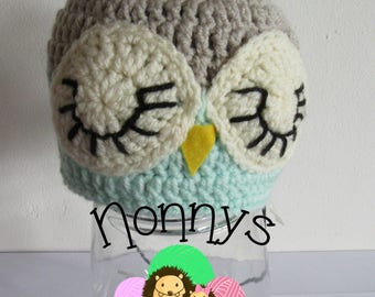 Crochet, owl Hat, size 6-12 Months, Ready to Post