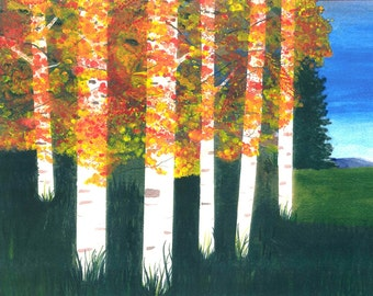 Autumn forest, Birch trees, hidden figures, Native American, Fantasy landscapes.