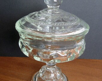 Vintage King's Crown Thumbprint Clear Covered Compote - Tiffin Glass