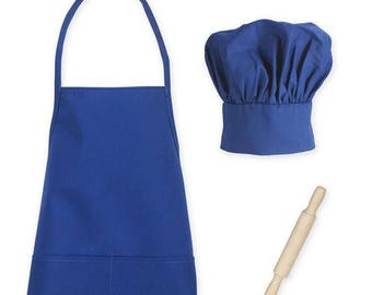 Toddler / Kids  Size Apron, Chef Hat and Rolling Pin Set in Royal Blue