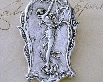 Silver Brooch - Art Nouveau Jewelry - Mucha Woman - Retro Vintage Pin- handmade jewelry