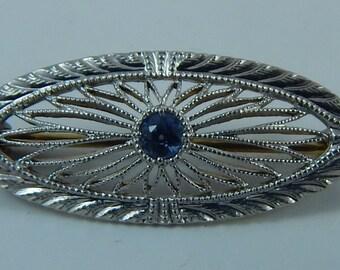 Art Deco 14k Gold Sapphire Filigree Brooch