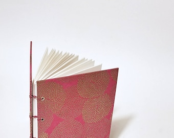 pink with gold mums journal - pink notebook - pink and gold book - journal for her - journal for wife - first anniversary gift for her