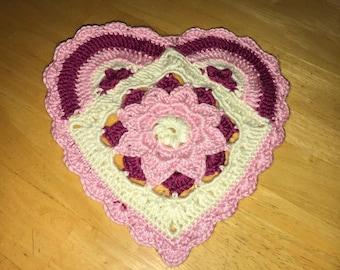Crocheted Mandala Doily/center piece Heart Shaped
