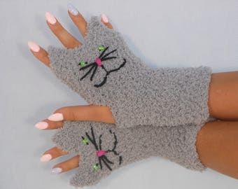 Crocheted Fingerless Mittens  Gloves Grey Cats Handmade Gloves Animal Gloves