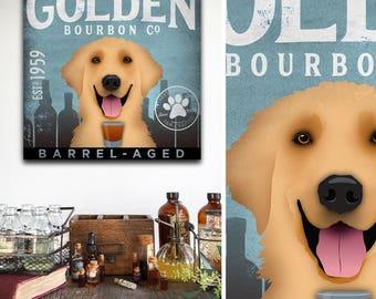 Golden Retriever dog bourbon distillery Company bar art on gallery wrapped canvas by stephen fowler