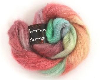 Laceweight kid mohair silk yarn, handdyed Perran Yarns lace knitting crochet wool, Unicorn Clouds, rainbow variegated fine multicolour yarn