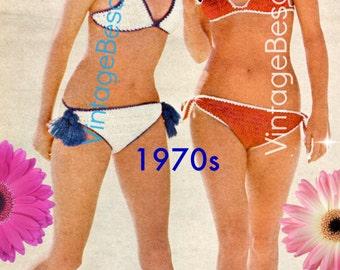 Bikini Crochet PATTERN Vintage 1970s • Tassel Bikini and Tied Bikini Crochet Patterns TWO Patterns Boho Beach Instant Download PDF Pattern