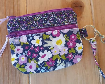 Quilted Wristlet, Zippered Cosmetic Bag, Small Wristlet, Purple Zipper Bag, Double Zipper Wristlet, Fabric Wristlet, Floral Wristlet