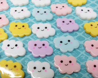 6x 25mm Happy Cloud Cabochons in Multicolours